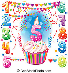 gâteau anniversaire, numéroté, bougies