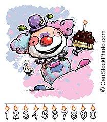 gâteau, anniversaire, porter, bébé, clown