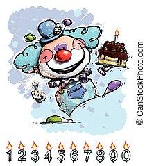 gâteau, anniversaire, porter, garçon, clown