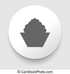 gâteau, arrière-plan., icon., blanc, isolé