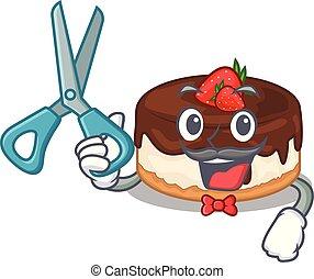 gâteau, baies, coiffeur, dessin animé, délicieux