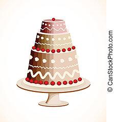 gâteau, berry., vecteur, chocolat