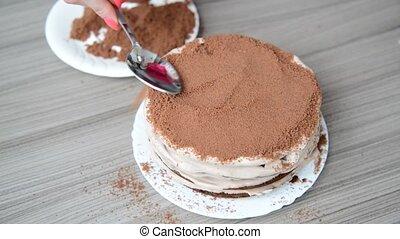 gâteau, biscuit, femme, miettes, couvertures