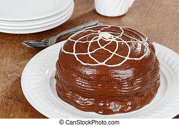 gâteau, blanc, glaçage, chocolat