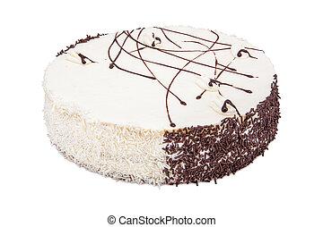 gâteau, blanc, glaçage, crème