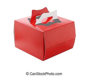 gâteau, boîte, rouges, plat à emporter