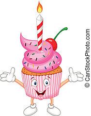 gâteau, bougie, dessin animé, tasse