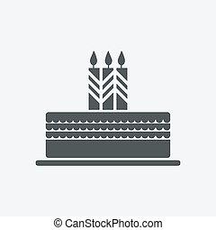 gâteau, bougie, icône