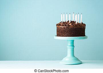 gâteau, bougies, anniversaire, dehors, soufflé