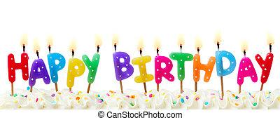 gâteau, bougies, anniversaire