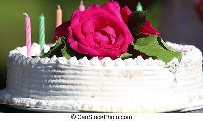 gâteau, bougies, ensemble