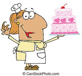 gâteau, boulanger, femme, bronzage, dessin animé