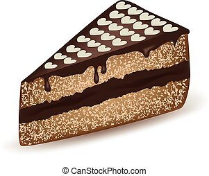 gâteau, cœurs, coiffe, chocolat