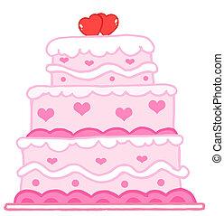 gâteau, cœurs, deux, rouges, mariage