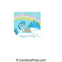 gâteau, cadre, anniversaire, licorne