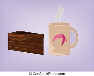 gâteau, café, couper, chocolat chaud
