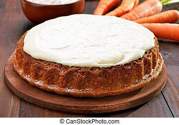 gâteau, carotte, glaçage