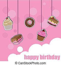 gâteau, carte anniversaire, tasse