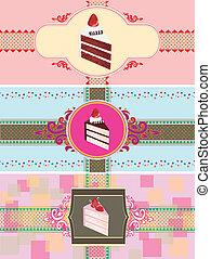 gâteau, cartes, ensemble, gabarit