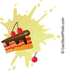 gâteau cerise, à, éclaboussure
