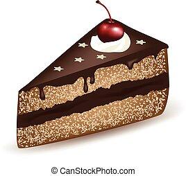 gâteau, cerise, chocolat