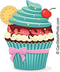 gâteau, cerise, vecteur, tasse