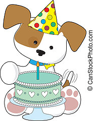gâteau, chiot, anniversaire