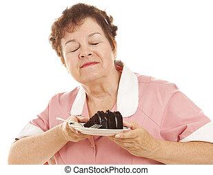 gâteau, chocolat, amours, serveuse