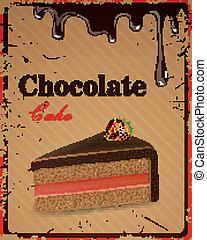 gâteau, chocolat, vecteur, signe