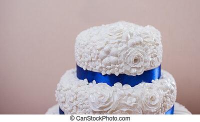 gâteau, classique, mariage