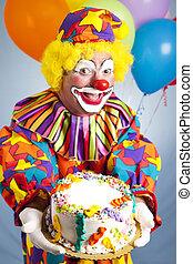gâteau, clown, anniversaire, heureux