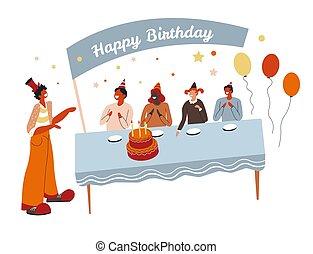 gâteau, clown, table, fête, autour de, enfants, anniversaire