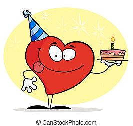 gâteau, coeur, anniversaire, rouges, tenue