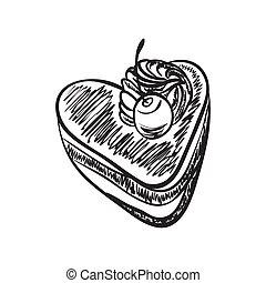 gâteau, coeur, croquis, formé