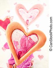 gâteau, coeur, fenêtre, formé