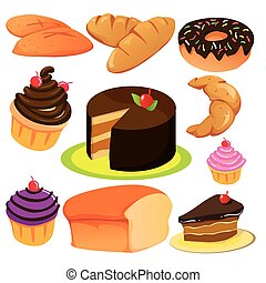 gâteau, collection, pain