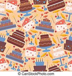 gâteau, conditionnement, papier, illustration., icônes,...