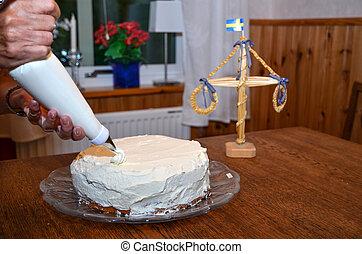 gâteau, confection, 3, fraise