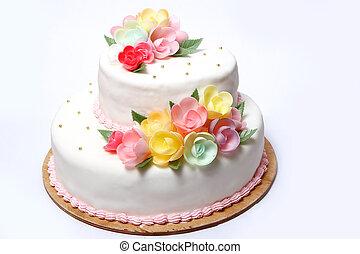 gâteau, couleur, flores, mariage