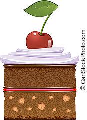 gâteau, crème, fouetté, chocolat