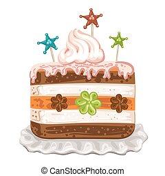 gâteau, crème, savoureux, fouetté, chocolat