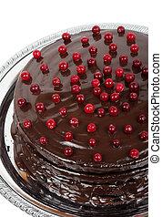 gâteau, décoré, canneberges, chocolat