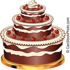 gâteau, décoré, chocolat