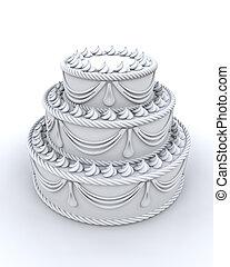 gâteau, décoré, render, 3d