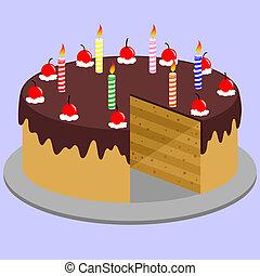 gâteau, délicieux, chocolat