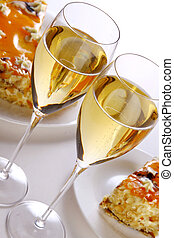 gâteau, dessert, fruit, champagne
