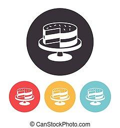 gâteau, dessert, icône