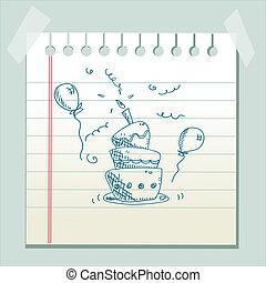 gâteau, dessiné, anniversaire, main