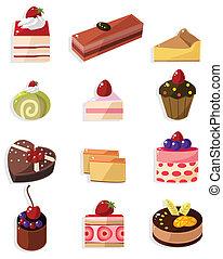 gâteau, dessin animé, icône