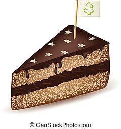 gâteau, dollar, chocolat